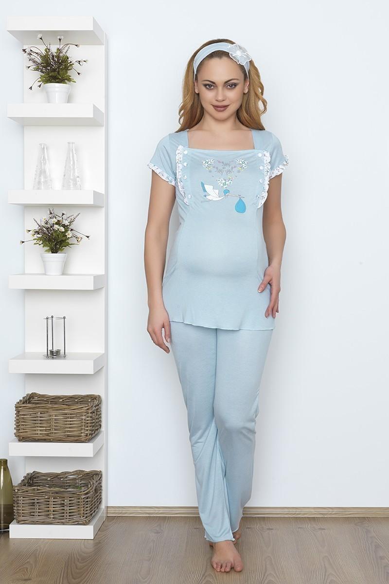 Baha Mavi BH-2526-MAVI Lohusa Pijama Takımı