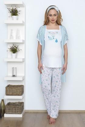 Baha Mavi BH-2527-MAVI Lohusa Pijama Takımı