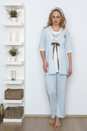 Baha Mavi BH-2528-MAVI Lohusa Pijama Takımı