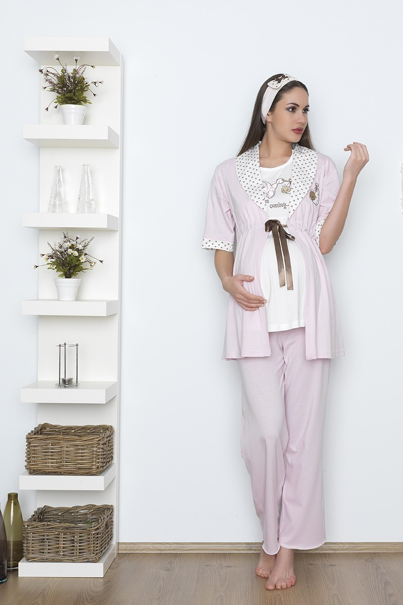 Baha Pembe BH-2528-PEMBE Lohusa Pijama Takımı