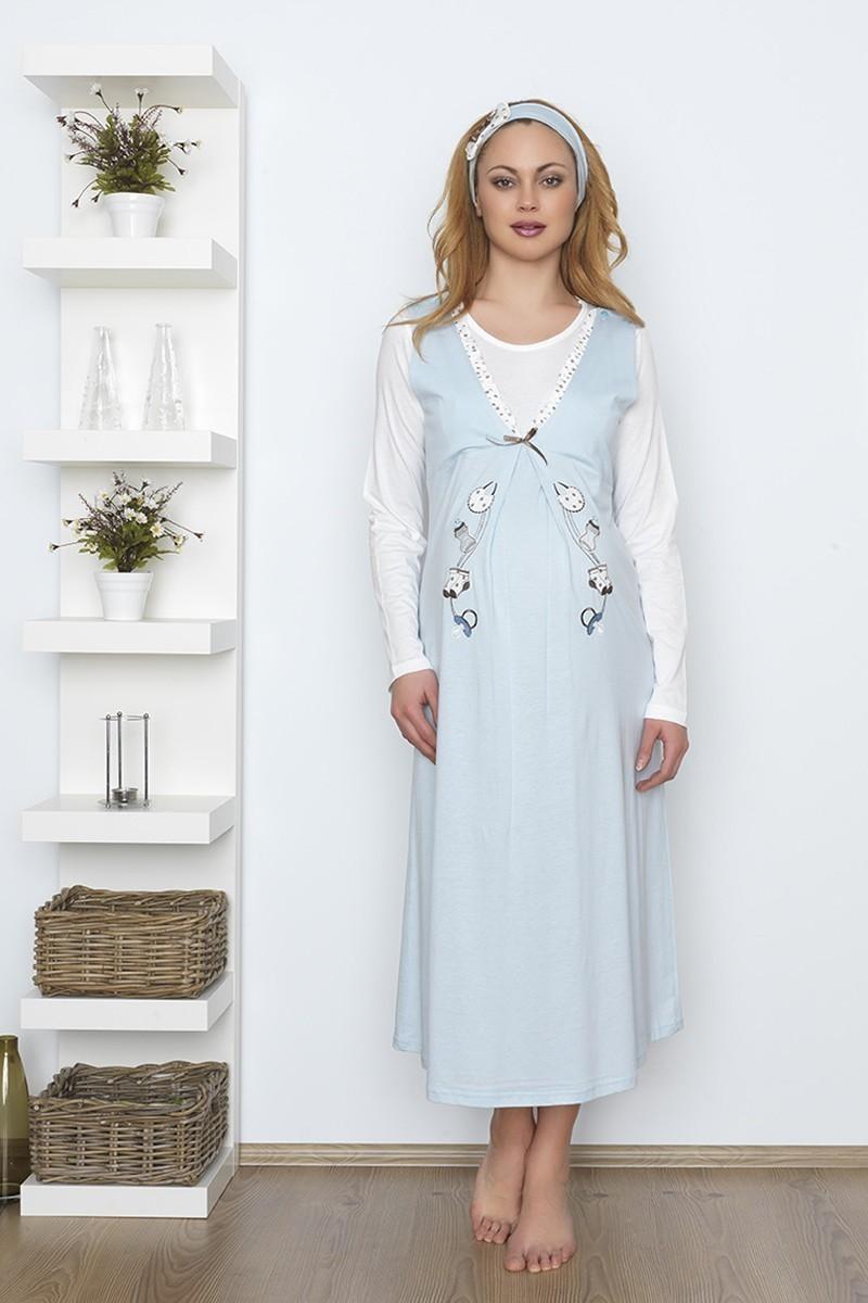Baha Mavi BH-2530-MAVI Lohusa Pijama Takımı