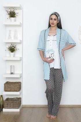 Baha Mavi BH-2535-MAVI Lohusa Pijama Takımı