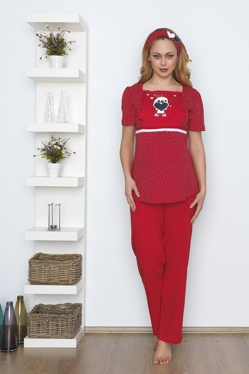 Baha Kırmızı BH-2539-KIRMIZI Lohusa Pijama Takımı