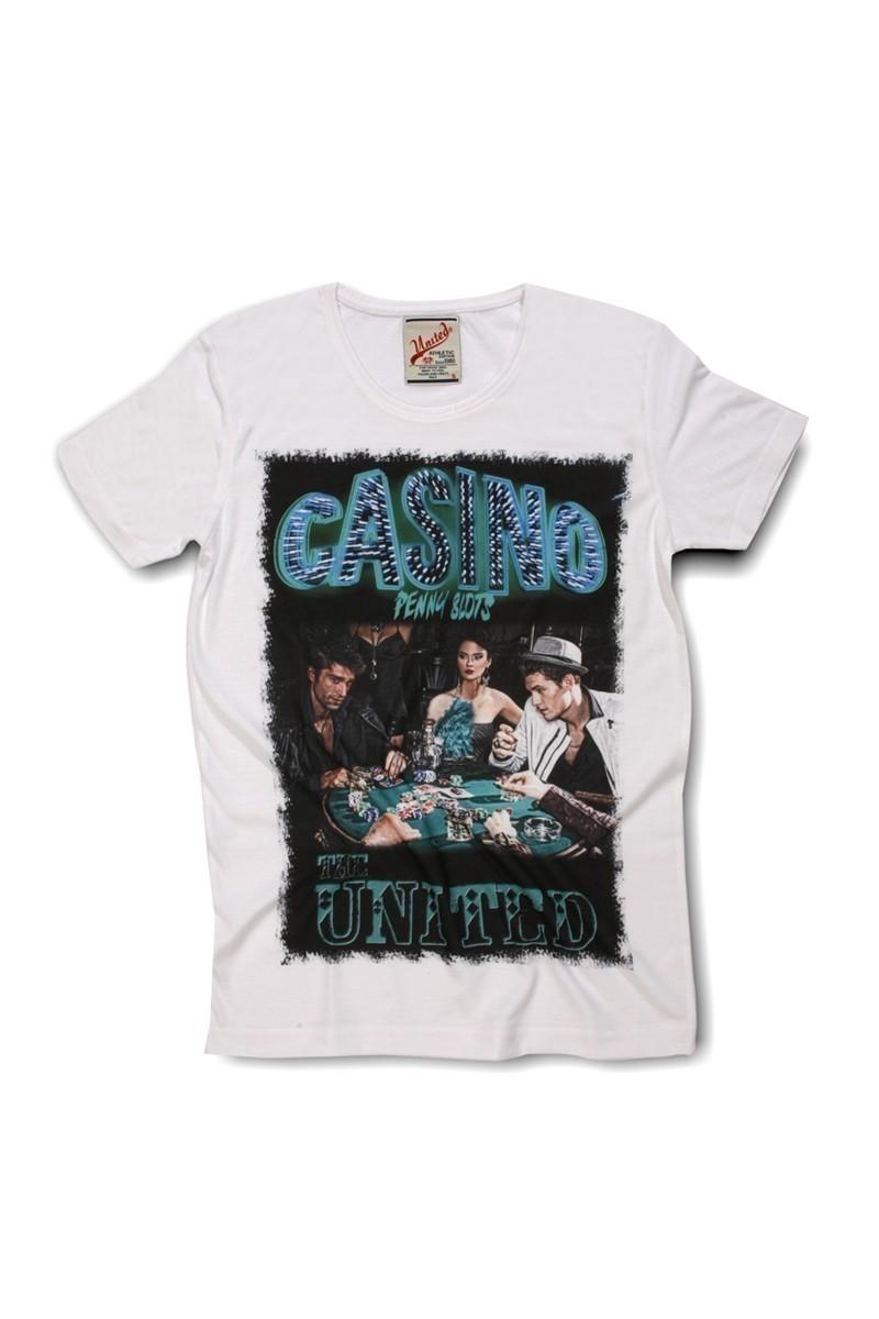 United Beyaz UE-Casino Unisex Tişört
