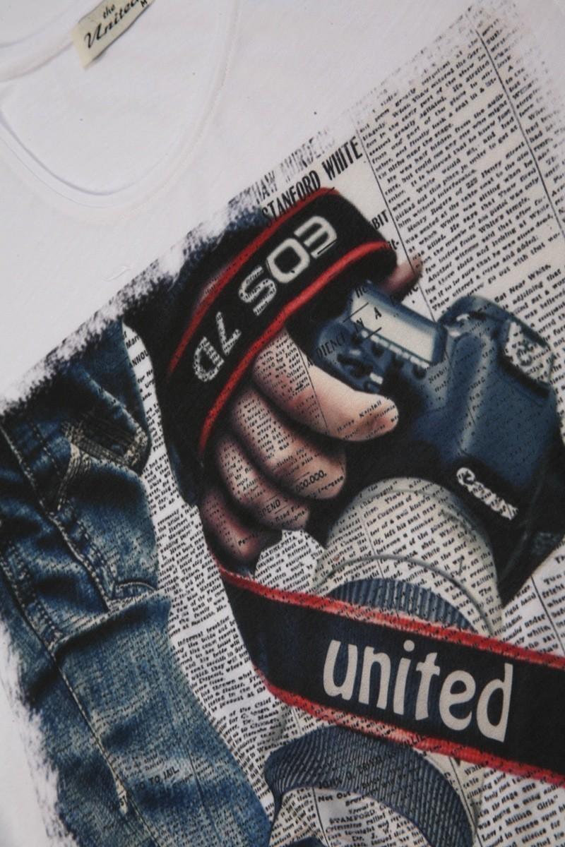 United Beyaz UE-Foto Unisex Tişört