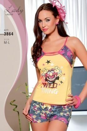 Lady Lingerie Sarı LL-3864 Bayan Gecelik