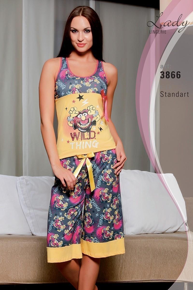 Lady Lingerie Sarı LL-3866 Bayan Pijama