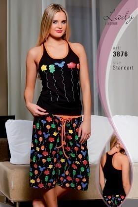 Lady Lingerie Siyah LL-3876 Bayan Pijama
