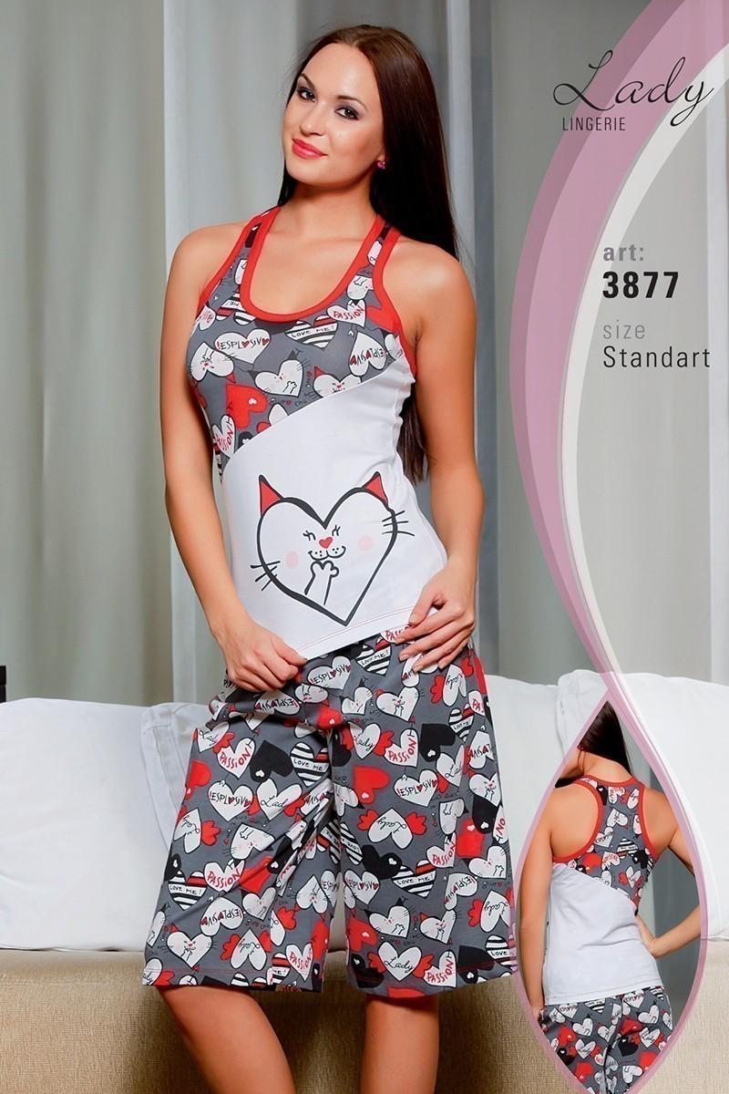 Lady Lingerie Beyaz-Gri LL-3877 Bayan Pijama