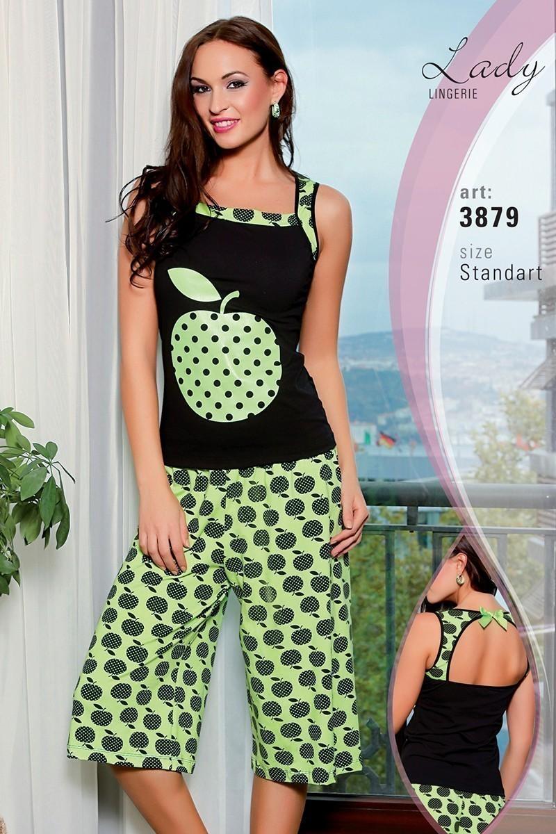 Lady Lingerie Siyah-Fıstık Yeşili LL-3879 Bayan Pijama