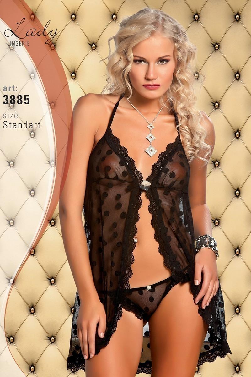 Lady Lingerie Siyah LL-3885 Bayan Gecelik