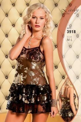Lady Lingerie Siyah LL-3918 Bayan Gecelik