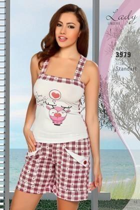 Lady Lingerie Ekru-Bordo LL-3979 Bayan Pijama