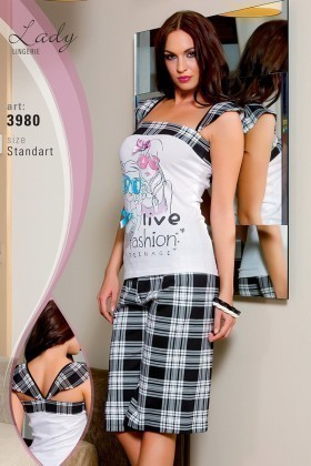 Lady Lingerie Beyaz-Siyah LL-3980 Bayan Pijama