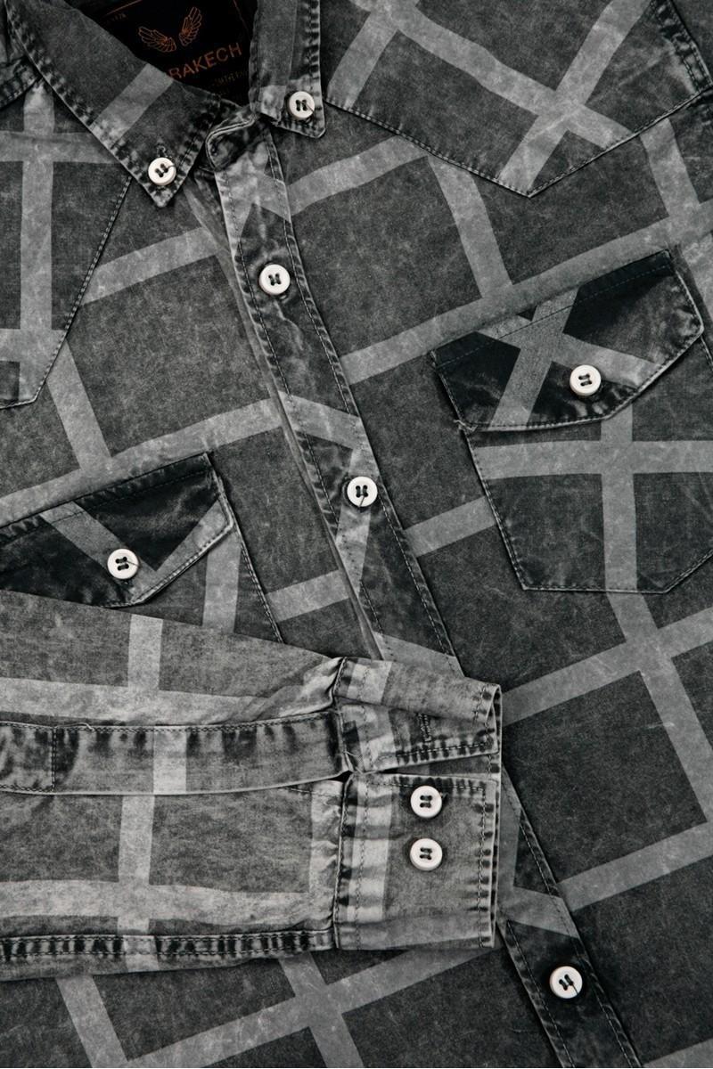 Marrakech Gri MR-006 Erkek Gömlek Slimfit