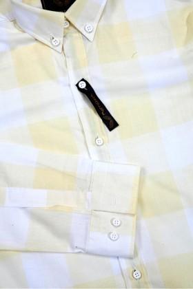 Marrakech Sarı-Beyaz MR-Sarı-Beyaz Erkek Gömlek Slimfit