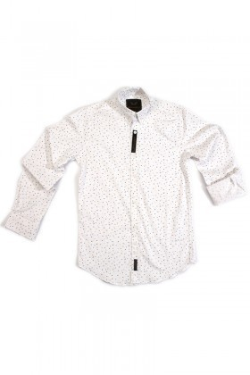 Marrakech Beyaz MR-Benekli Erkek Gömlek Slimfit