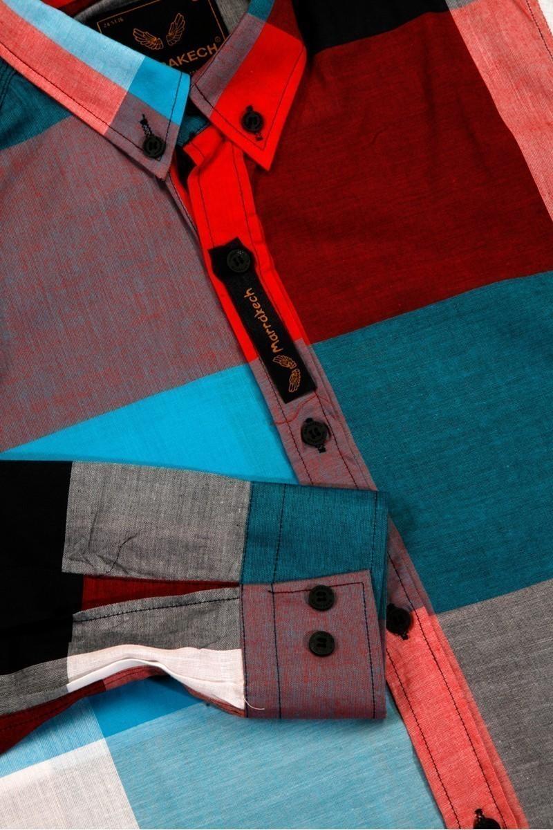 Marrakech Mavi-Kırmızı-Beyaz MR-011 Erkek Gömlek Slimfit