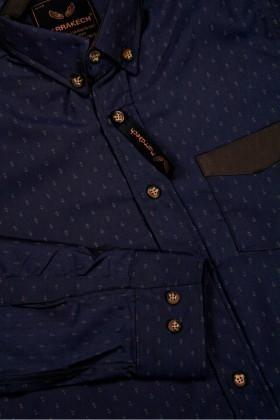 Marrakech Lacivert MR-015 Erkek Gömlek Slimfit