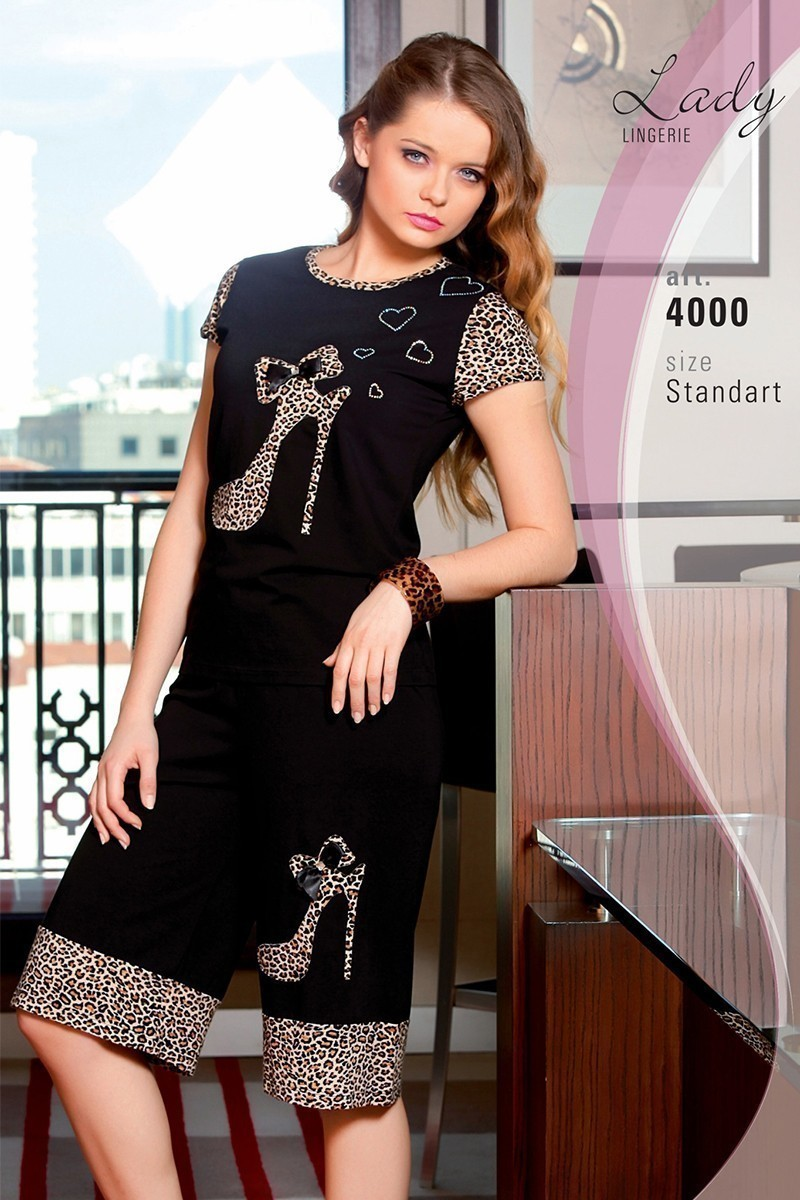 Lady Lingerie Siyah LL-4000 Bayan Pijama