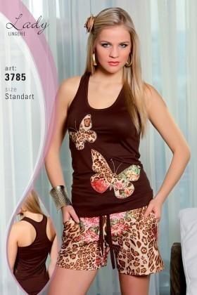 Lady Lingerie Kahverengi LL-3785 Bayan Pijama