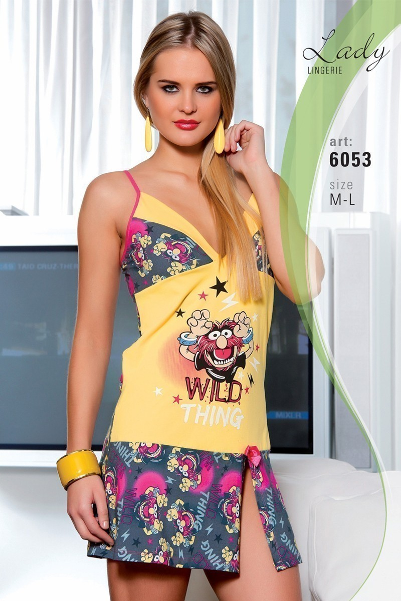 Lady Lingerie Sarı LL-6053 Bayan Gecelik