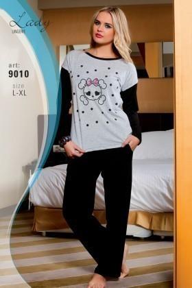 Lady Lingerie Siyah LL-9010 Bayan Pijama