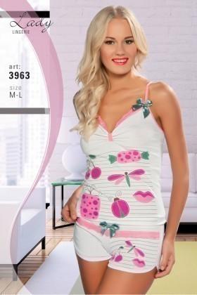Lady Lingerie Beyaz-Pembe LL-3963 Bayan Pijama