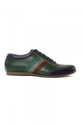 Pandew Yeşil-Lacivert PNDW-1053 Hakiki Deri Erkek Ayakkabı