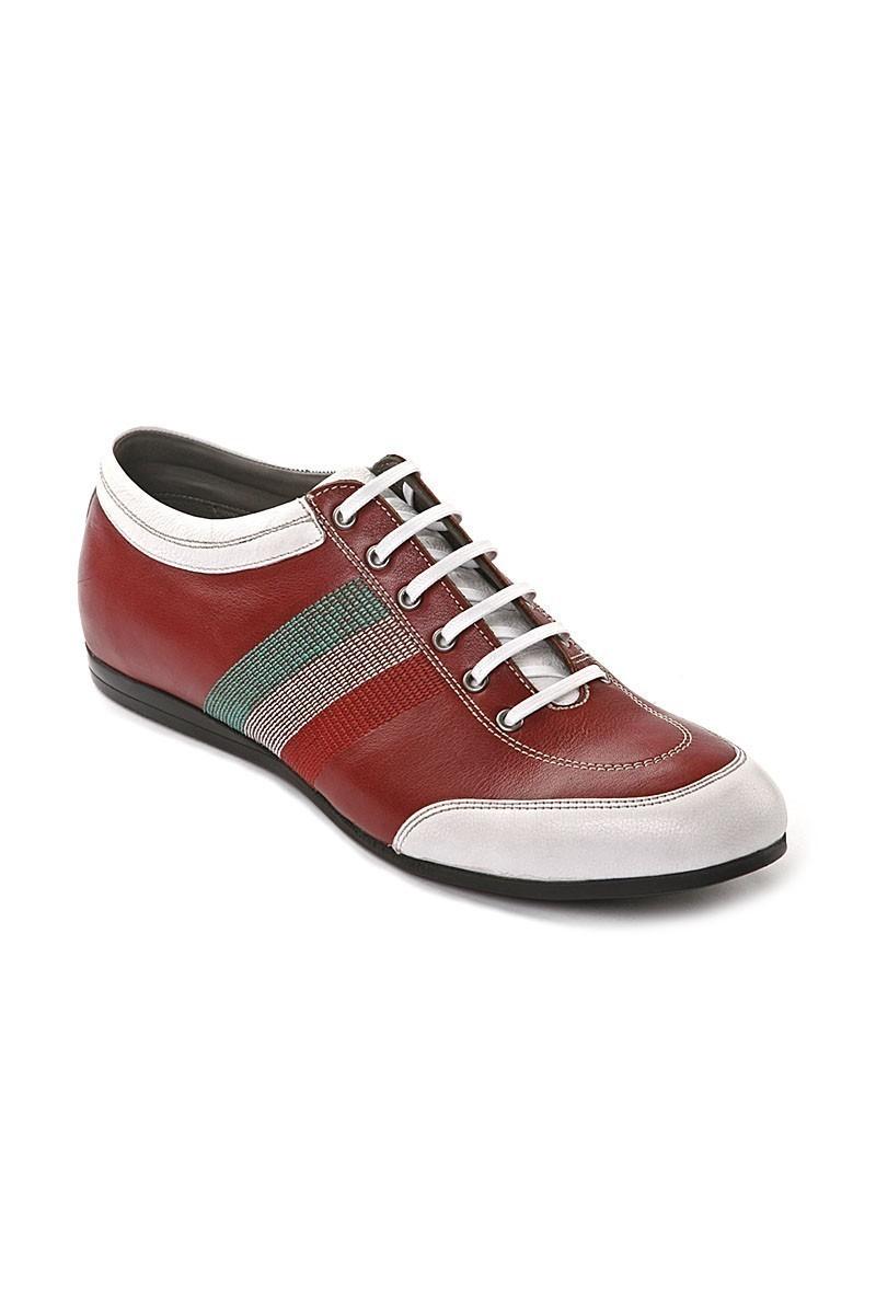 Pandew Bordo-Beyaz PNDW-1053 Hakiki Deri Erkek Ayakkabı