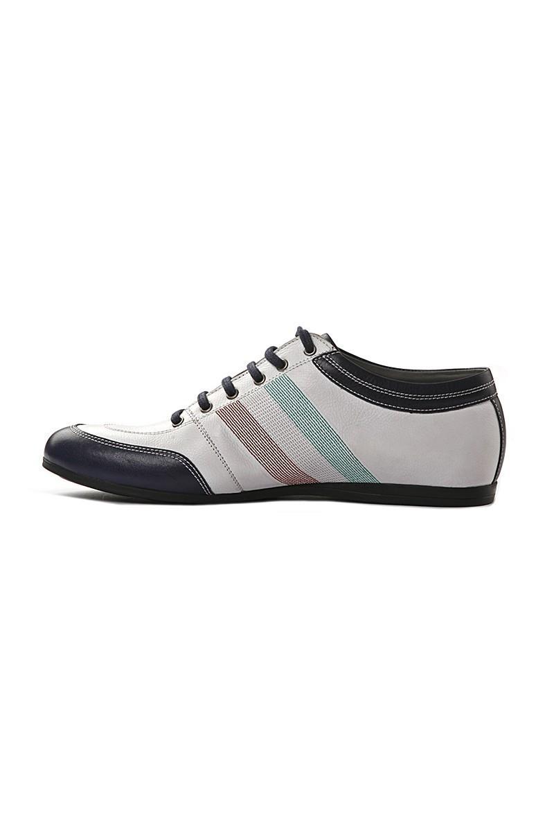 Pandew Beyaz-Lacivert PNDW-1053 Hakiki Deri Erkek Ayakkabı