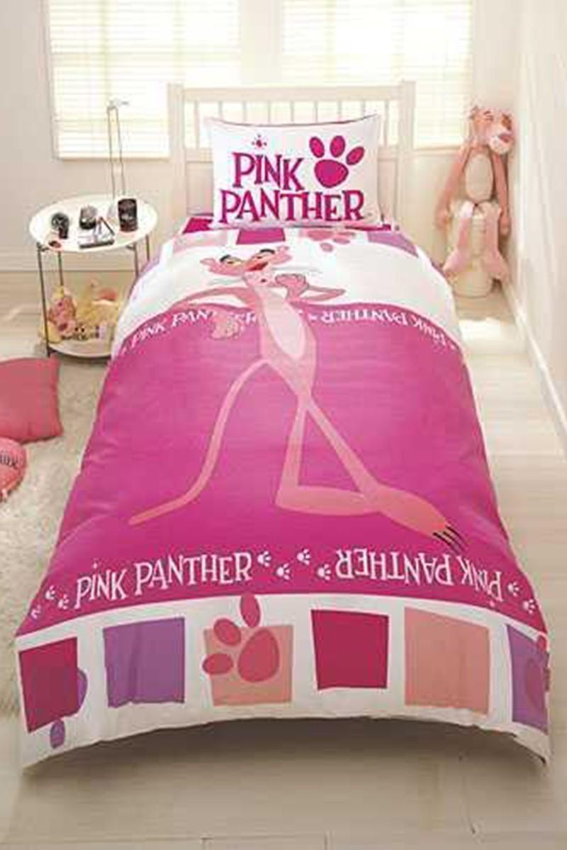 Taç Pembe DD-18706099 Genç Desen Nevresim Takımı Pink Panter Step