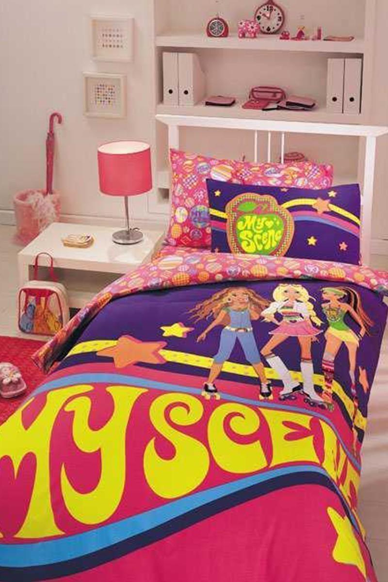 Taç Pembe-Mor DD-18707323 Disney Nevresim Takımı Barbie My Scene Dance