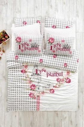 Evim Home Beyaz-Pembe DD-34515076 Tek Kişilik Nevresim Takımı Love İstanbul