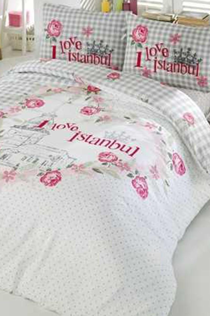 Evim Home Beyaz-Pembe DD-34515101 Complete Set Tek Kişilik Love İstanbul