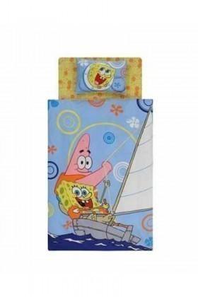 Taç Mavi DD-60066642 Yatak Örtüsü Sponge Bob Boat