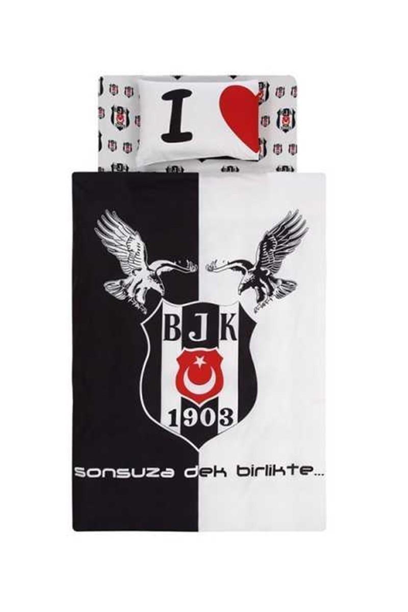 Taç Siyah-Beyaz DD-60068394 Nevresim Takımı Bjk Kartal Logo