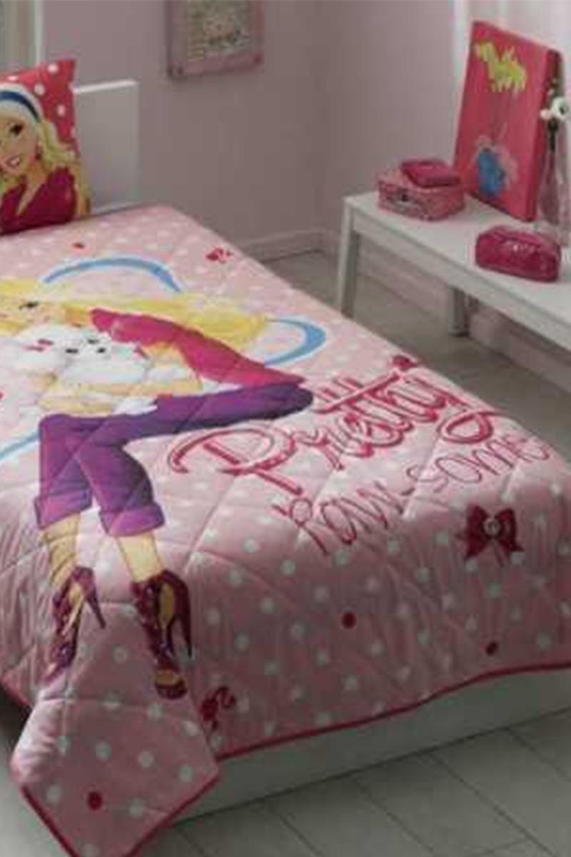 Taç Pembe DD-60087554 Genç Desen Yatak Örtüsü Barbie Pretty