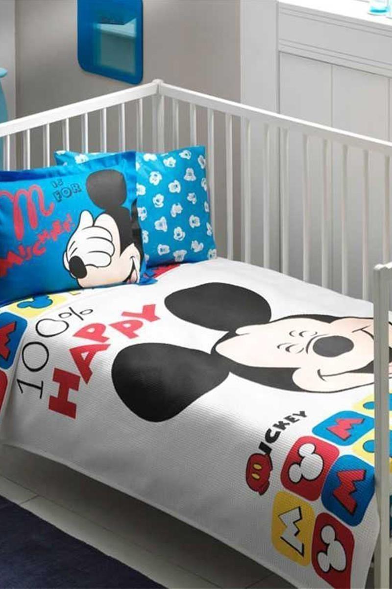 Taç Beyaz DD-60090984 Bebek Pike Takımı Mickey Smiley Face