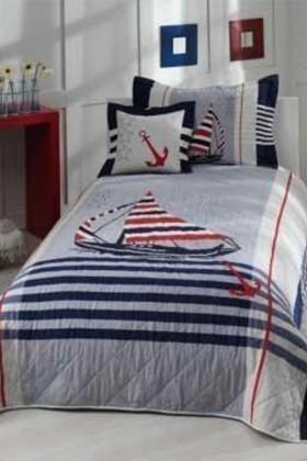 Taç Beyaz-Kırmızı-Lacivert DD-71059196 Genç Desen Yatak Örtüsü Sailing