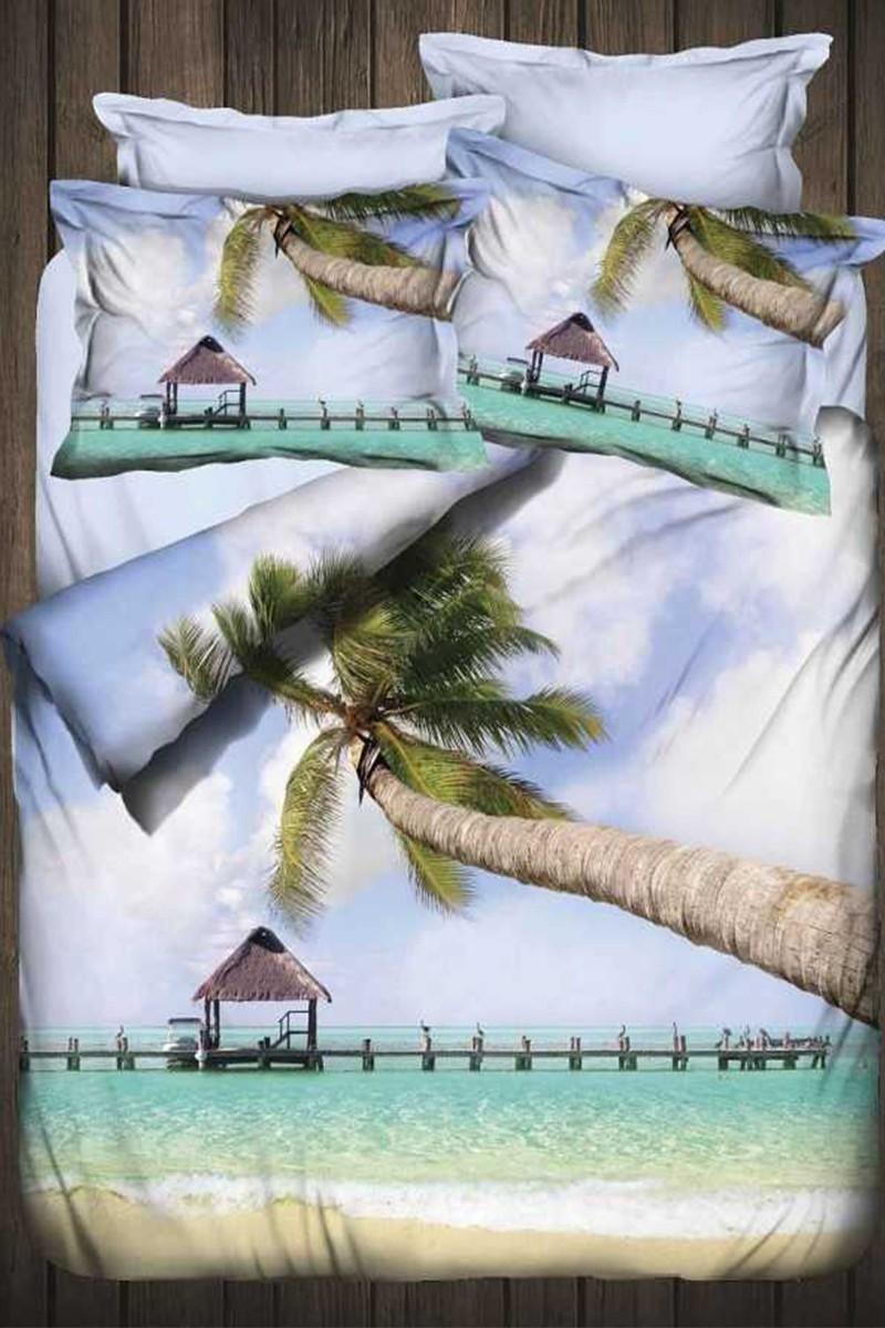 İyi Geceler İstanbul Gök Mavi DD-89012006 3d Çift Kişilik Nevresim Takımı Palm