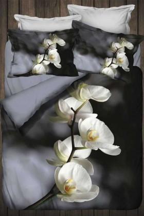İyi Geceler İstanbul Siyah DD-89012009 3d Çift Kişilik Nevresim Takımı Orchids
