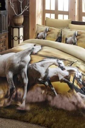 İyi Geceler İstanbul Krem DD-89012018 3d Çift Kişilik Nevresim Takımı Horses