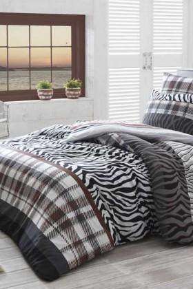 Cotton Life Ranforce Kahverengi DD-89012164 Tek Kişilik Nevresim Takımı Zebra