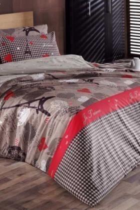 Cotton Life Ranforce Vizon DD-89012207 Tek Kişilik Nevresim Takımı Je T'aime