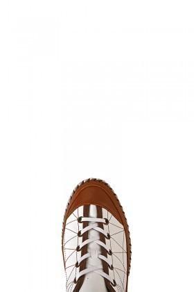 Pandew Beyaz-Taba PNDW-1691 Hakiki Deri Erkek Çarık