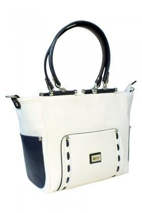 California Polo Club Beyaz-Lacivert 3KK248284580BLA Bayan Çanta
