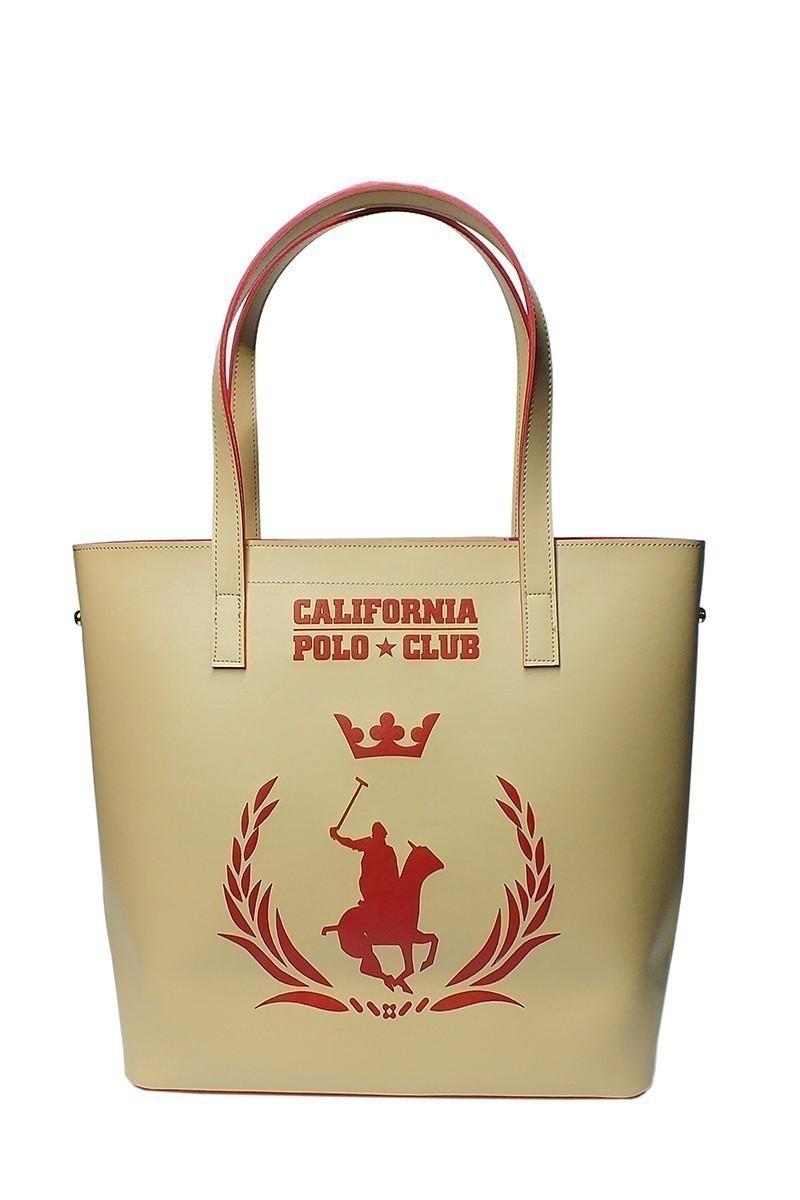 California Polo Club Bej-Kırmızı 4YK51284053BIK Bayan Çanta