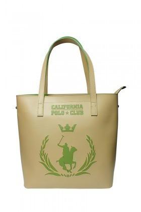 California Polo Club Bej-Yeşil 4YK51284053009 Bayan Çanta