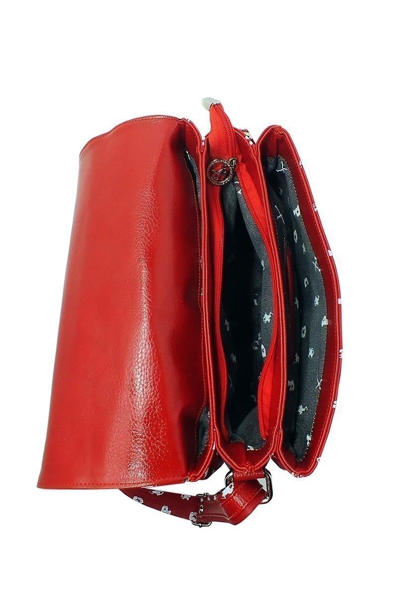 California Polo Club Kırmızı-Beyaz 4KK243284004460 Bayan Çanta